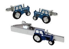 Blue Farming Tractor  Cufflinks & Tie Bar Set NEW in BOX