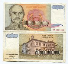 Yugoslavia 1993 50 Billion Dinaras Banknote VF Inflation Currency P136