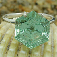 Green Sapphire Hexagon Shape 925 Sterling Silver Ring Jewelry DRR1092_B
