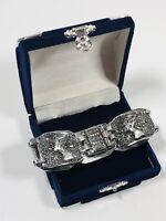 Vintage Tennis Bracelet Silver Tone Egyptian Revival Box Clasp Pretty Costume