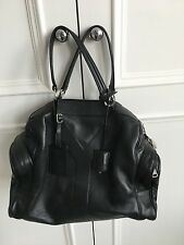 Impresionante Negro Bolsa De Cuero Bolso De Mano Diseñador Ysl Yves Saint Laurent