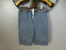 Mini Boden Boys Blue White Railroad Striped Long Shorts 12Y Drawstring Pockets