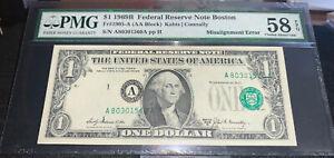 1969 B $1 Federal Reserve Note Boston PMG 58 EPQ - *MAJOR* Misalignment Error AH
