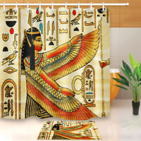 Waterproof Fabric Polyester African Egyptian Queen Shower Curtain Mat Set Hooks