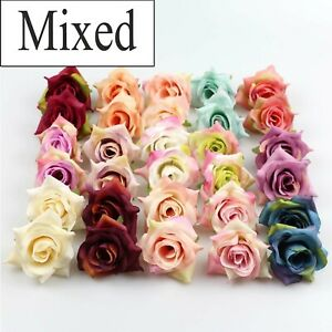10/100Pcs Mix Silk Artificial Rose in Bulk flower heads For wedding Party Decor
