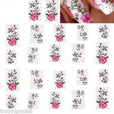 Nail Art Water Decals Stickers Pretty Pink Flowers Polka Dot Gel Polish (248)