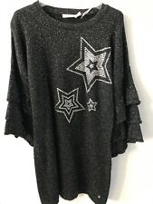 Miss Grant Couture Black/Silver Shimmer Star Jumper Dress - Age 6/7