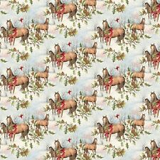 Christmas Horses Scenic 64469 100% cotton fabric by the yard