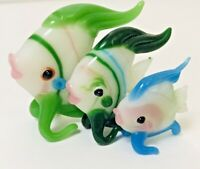 SET OF 3 KISSING FISH MINIATURE HAND BLOWN Art GLASS  FIGURINE 1e
