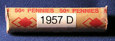 "1957 D United States Lincoln ""WHEAT"" Used/Circulated Pennies - ONE Roll of 50"
