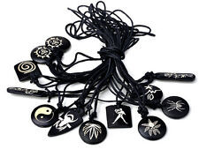 Mixed Bulk 10pc Men's Amulet Black Rope Synthetic Rubber Punk Pendant Necklace