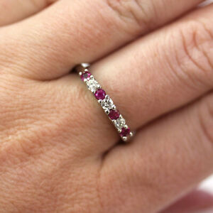 0.5 ctw Natural Ruby & Diamond Solid 14k White Gold Alternating Band Ring 2.5 MM