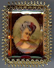 *VINTAGE CZECH PAINTED CAMEO LADY IN FACETED PEACH GLASS FRAME PIN*