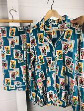 Excellent Bed Head Long-Sleeve Pajama Set PJ's M Medium Playing Cards Print
