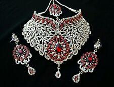 Schmuck Set Ohrringe Kette Rot neu Collier Silber Türkei Orient Steine Party
