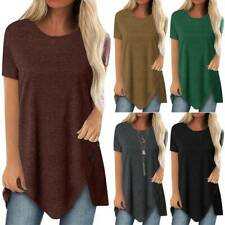 Womens T Shirts Short Sleeve Blouse Summer Long Tops Loose Casual Plus Size 8-22