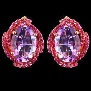 NATURAL 14X10MM PINK AMETHYST & PINK TOURMALINE ROSE GOLD SILVER 925 EARRING