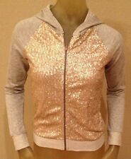 NWT delia's Gray / LT GOLD SEQUIN Hoodie Hooded Zip Jacket Juniors XS