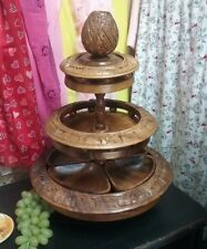 Vntge Center Piece Hand Carved Teak Wood Fruit Tray,Bowl,Stand,Display,Lazy Suzy