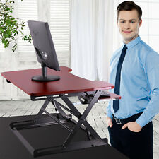 Brown Ergonomic Height Adjustable Standing Desk Sit Stand Desk Top Desk Riser