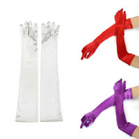 Women's Satin Long Gloves Opera Wedding Bridal Evening Party Prom Costume Glove