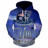 NEW ENGLAND PATRIOTS 6 Times CHAMPIONS Hoodie Hodded Pullover Football Team Fans