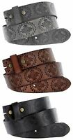 "BS70 Floral Engraved Full Grain Leather Belt Strap, 1-1/2"" Wide"