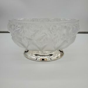 WILLIAM ADAMS 24% Lead Frosted Rose Genuine Crystal Silver Plated Pedestal Bowl