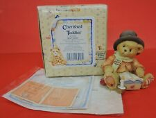 1994 Cherished Teddies Bear Cratchet Figurine 617326-Merry Xmas To You Scrooge
