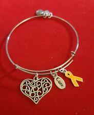 Silver Multiple Sclerosis Charm Bracelet (MS) orange awareness ribbon