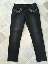 R M WILLIAMS, WOMENS, LONGHORN, TAPERED JEANS, BLACK, SIZE 9, DETAILED #1379