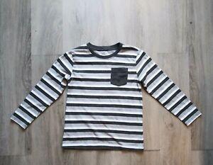 Okie Dokie Long Sleeve Shirt Black & White Striped Boys Size XL7