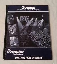 Gottlieb Premier Big House Pinball Machine Original Manual & Schematics Nos!