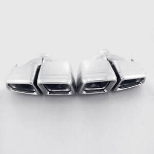 """Pair Exhaust Tips 2.4"""" Inlet Quad Out E63 AMG Look For Mercedes-Benz Double Wall"""