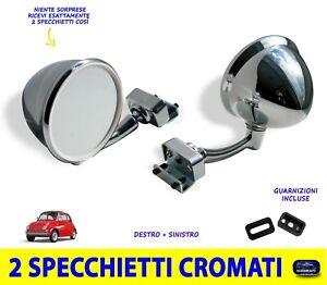 Specchietti cromati Fiat 500 d'epoca Retrovisori a goccia dx sx due specchietto