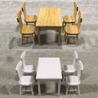 5Pcs 1:12 Dollhouse Miniature Furniture Wooden Dining Table Chair Model Toy Set