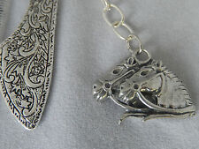 Ornate bookmark, 2 horse head dangle,  Aussie made pewter charm, horses lovely