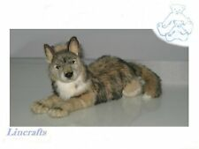 Lying Wolf Plush Soft Toy by Hansa. Sold by Lincrafts. 4293