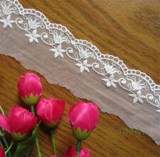 1 yd Vintage Cotton Embroidered Net Lace Edge Trim Mesh Ribbon Wedding Applique