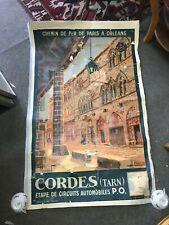 authentique Affiche entoilée CHEMINS DE FER PARIS ORLÉANS MIDI CORDES Tarn 1933