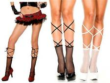Punk Fishnet Ankle High Sock Corset Lace Tie-Up Top Ballet Goth Lolita Harajuku
