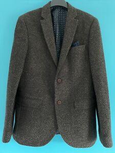 Mens Next Brown Wool Mix Blazer 40R Slim Tailored Fit With Handkerchief Detail