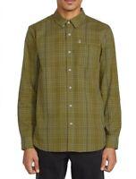 Volcom Mens Shirt Green Size XL Moore Mix Modern-Fit Plaid Button Down $65 235