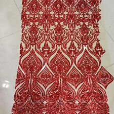 Bridal Wedding Red Sequin Embroidery Embroidered Mesh Net Lace Fabric BTY