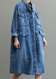 Blue Vtg 80's Denim Floaty Rock  Street Edgy Long Oversize Jacket Shirt Coat 14