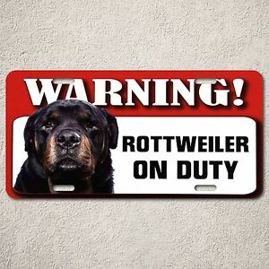 LP0049 Rottweiler On Duty Sign Rust Vintage Auto Car License Plate Home Decor