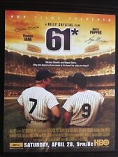 MICKEY MANTLE/ROGER MARIS - 61* - A BILLY CRYSTAL FILM HBO 2001 POSTER/FLYER MT!