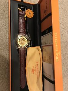 Stuhrling Men's Cal ST90089 Skeleton Watch  20 Jewels new in box.automatic.