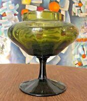 "Vintage Empoli Goblet MCM Mid Century Ribbed Green Glass 7"" MINT"