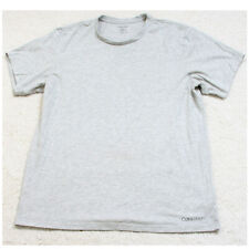 Calvin Klein Gray Cotton Polyester Crewneck Mans Solid Tee T-Shirt Top Large N1